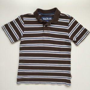 Oshkosh Sz 6, S/S Polo Shirt, Brown Stripes